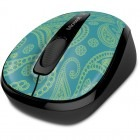 Mouse de notebook Microsoft Wireless Mobile Mouse 3500 Mint Aqua Paisley