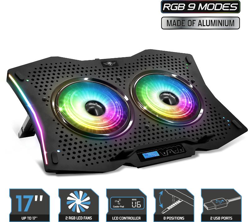 Stand/Cooler notebook Spirit of Gamer AIRBLADE 1000 RGB, pana la 17 inch, 2 ventilatoare 115 mm, 8 pozitii, 6 viteze, sasiu aluminiu, LCD controller