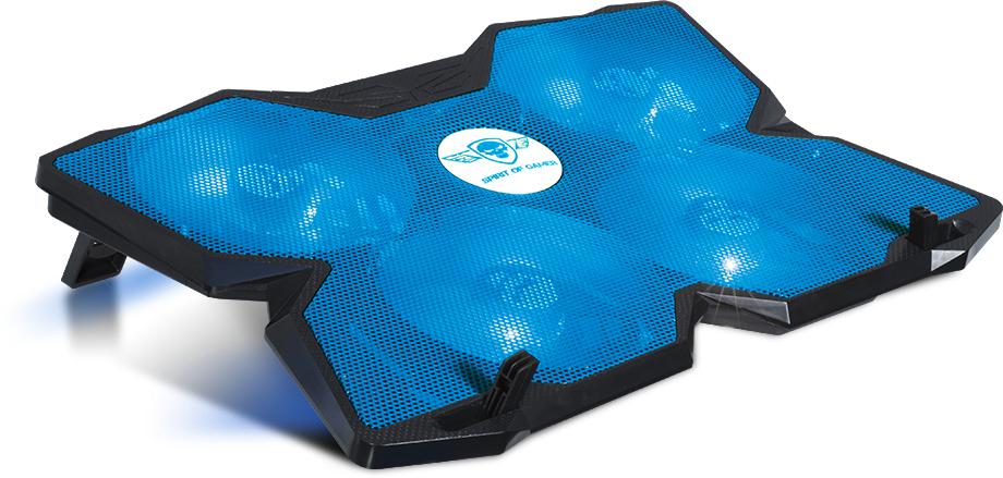 Stand/Cooler notebook Spirit of Gamer AIRBLADE 500, pana la 17 inch, 4 ventilatoare 120 mm, 3 pozitii, iluminare LED Blue