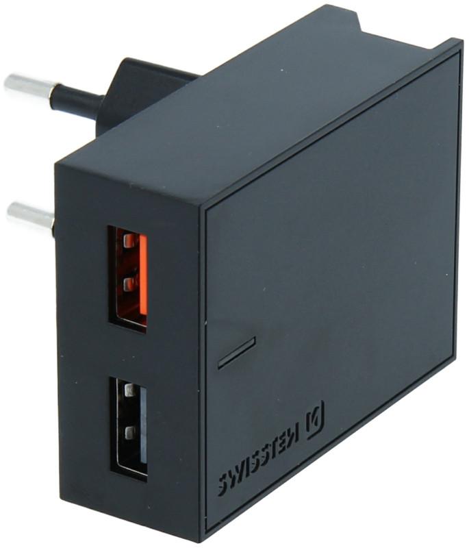 Incarcator retea GSM Swissten Slim, 2x USB, 23W, Black cu tehnologia Quick Charge 3.0